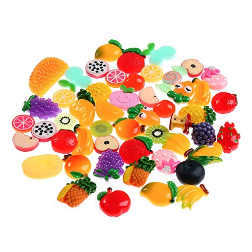- 100 Pieces Slime Charms Mixed Fruits and Candy Sweets Slime Beads Making Accessories for DIY Scrapbooking Crafts