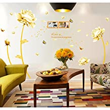 Yellow Flowers Butterflies English Letters Wall Decal Home Sticker House Decoration WallPaper Removable Living Dinning Room Bedroom Kitchen Art Picture Murals DIY Stick Girls Boys kids Nursery Baby Playroom Decoration