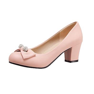 YE Damen Chunky Heels Pumps Rockabilly High Heels Geschlossen mit Schleife und 6cm Absatz Kleid Elegant Schuhe  35 EURosa