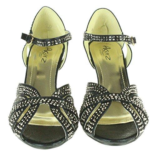 Mujer Señoras Diamante Noche Fiesta de bodas Prom Nupcial Tacón alto Correa de tobillo Sandalias Zapatos tamaño Negro