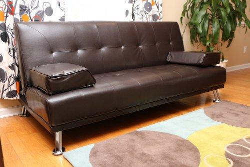 Futon Sofa Bed With Removable Arm Rests Brown Vinyl Leather Import