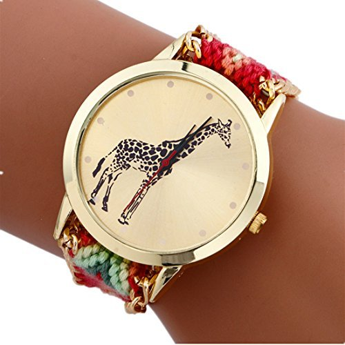 Mixe Handmade Knitted Jewelry Watch Women Ladies Tribal Elephant Watches Dress Decor (Giraffe-2#Pink) + Gift Black Cloth Pouch by Mixe