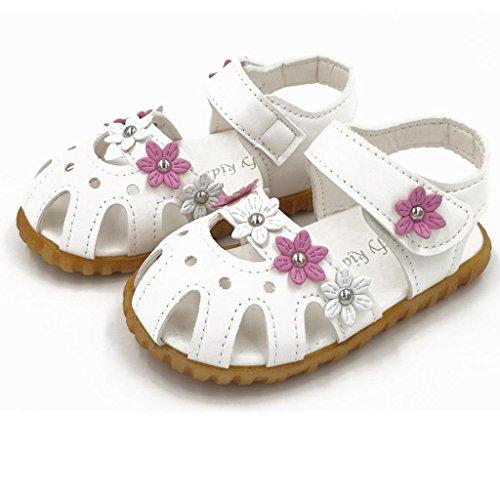 Hunpta Kinder Mode kausale Sommer flache Blume weiche Unterseite Mädchen Sandale Schuhe Weiß