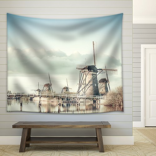 Traditional Vintage Holland Landscape with Windmills Kinderdijk Fabric Wall