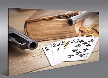 Quadro moderno juegos de cartas y revólver Cards Poker ...