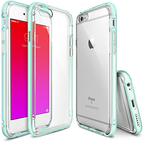 Ringke Fusion Frame Compatible with Apple iPhone 6 Case, iPhone 6S Case Dual-Layered TPU Bumper and PC [Frost Mint] Drop Protection Clear Back Shock Absorption Protective Bumper DIY Package