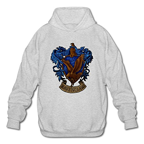 [AOPO Harry Potter Ravenclaw LOGO Men's Long Sleeve Hooded Sweatshirt / Hoodie Ash] (Rowena Ravenclaw Costume)