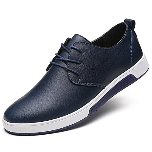 ZZHAP Men's Casual Oxford Shoes Breathable Flat Fashion Sneakers 02Blue US 9