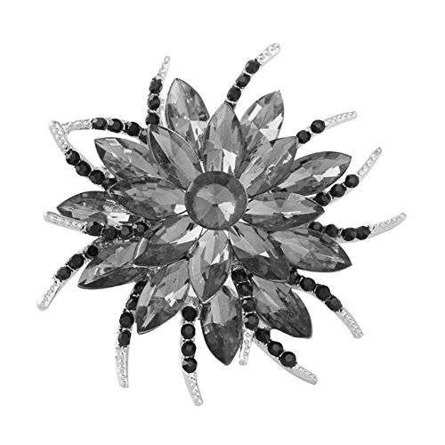 F&U Flower Brooch Pin Fashion Crystal Corsage for Women in Bouquet Wedding (BLK) ()