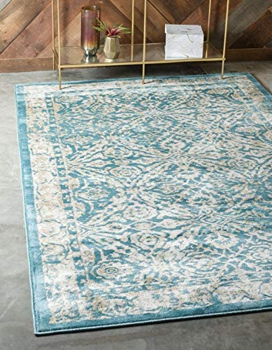 Unique Loom Oslo Collection Traditional Botanical Teal Area Rug 6 x 9