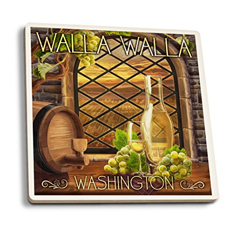 Lantern Press Walla Walla, Washington - Chardonnay (Set of 4 Ceramic Coasters - Cork-Backed, Absorbent)