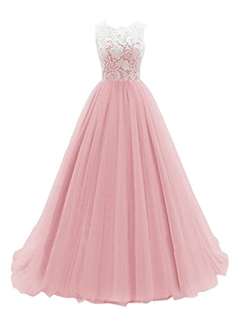 Crystal Dresses Womens A-line Jewel Long Lace Prom Dresses Ball Gowns Evening Party Dresses