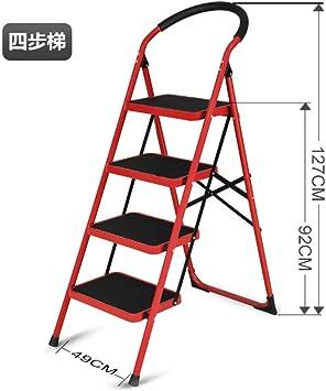 LADDER Escalera Casa Doblez Interior Cargar Los Portes Estable Multifunción Ligero Sencillo en Pequeña Escala la Seguridad Aluminio Metal Escaleras Tramo Espesar Escalera/rojo / 4 pasos: Amazon.es: Bricolaje y herramientas