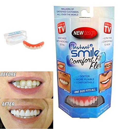 Perfect Secure Instant Smile Veneer Upper Teeth False for Adults, Silicone Temporary Top and Bottom Tooth Replacement Kits Seen on TV Dental Product Denturepaste for Men and Women by (Teeth Replacement Adult Adhesive)