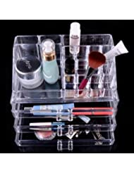 Luxury Acrylic Cosmetic Organizer Makeup Box 3 Drawers 1304 Top and Bottom Set