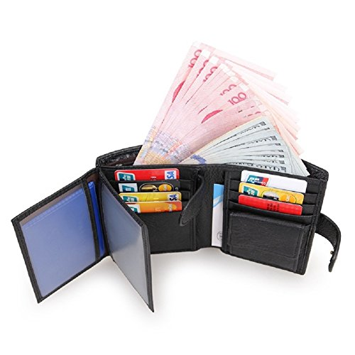 Black Case Leather with Mens Wallet Card ID Wallets Trifold Windows Holder Wallets Double TFHUwqn