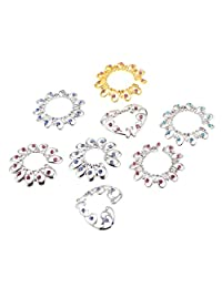Baoblaze 8 Pcs Women Body Jewelry Non Pierce Nipples Ring Flower Heart Stainless Steel