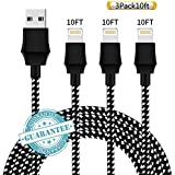 DANTENG Phone Charger 3Pack 10FT Nylon Braided Charging Cables USB Charger Cord, Compatible with Phone Xs 8 8 Plus 7 7 Plus 6 6 Plus Pad - Black White