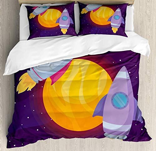 Universe Duvet Cover Set King Size,Cartoon Illustration Of Rocket Spaceship Around A Planet Galactic Theme,Bedding Cover Set 100% Cotton Boys Girls For Children Teens,Purple And Multicolor]()