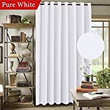 door panel darkening - Extra Long and Wide Room Darkening Curtains Rich Textured Linen Patio Door Panel Home Fashion Window Panel Drapes with 16 Grommets - Pure White - 100x96 Inch