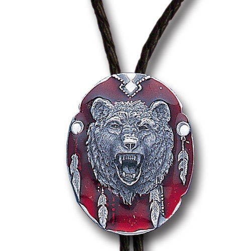 Grizzly Bear Head Enamel Pewter Bolo Tie - Pewter Grizzly Bear