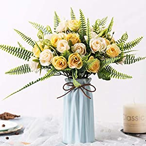 YILIYAJIA Artificial Silk Rose with Vase,30 Head Flowers Bulk Wedding Bouquets with Ceramic Vase Centerpieces for Decoration Table (Champagne) 18