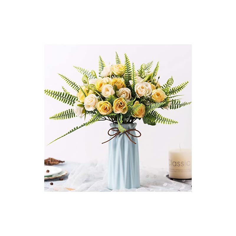 silk flower arrangements yiliyajia artificial silk rose with vase,30 head flowers bulk wedding bouquets with ceramic vase centerpieces for decoration table (champagne)