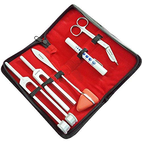 Superb Quality Set of 5 pcs Reflex Percussion Hammer, Penlight with pupil guage, Tuning Fork C 128 & C 512, Bandage Scissors 5.5