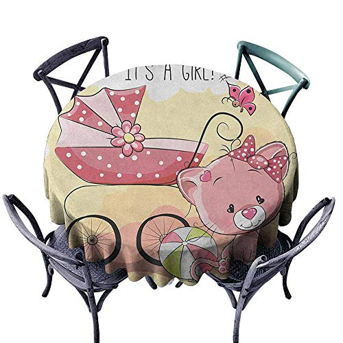 Mannwarehouse Gender Reveal Dustproof Tablecloth Cute Kitten Cat Baby Carriage Cat Kids Design Its A Girl Family Easy Care D47 Pale Yellow and Pink