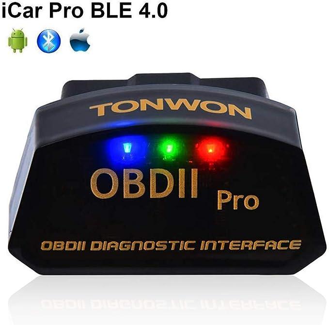 TONWON Pro Bluetooth 4.0 BLE OBD2 ELM327 Lector de código de fallo de Coche para iOS Android