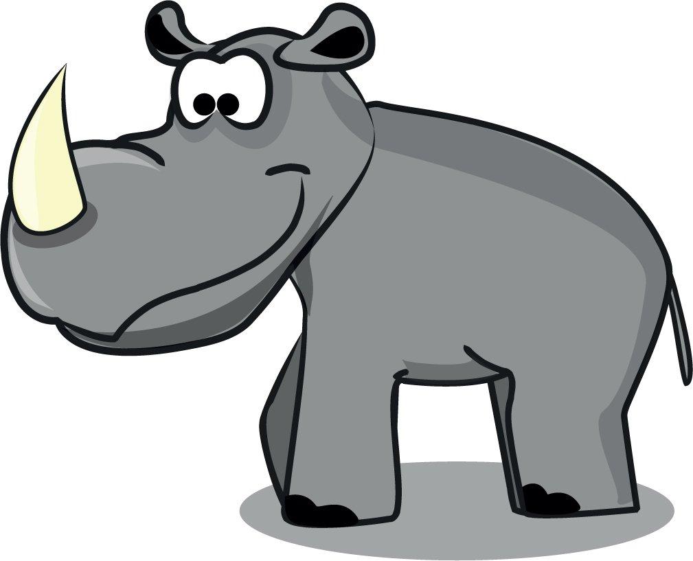 Rhino Cartoon Animal Home Decal Vinyl Sticker 14'' X 11''