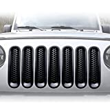 jeep wrangler blue grill inserts - [Upgrade Clip in Version] ICARS Matte Black Mesh Grill Insert Jeep Grille Guard For 2007-2015 Jeep Wrangler JK Unlimited Rubicon Sahara - 7PCS