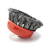 Wire Cup Brush, Knotted with 5/8-Inch-11 Threaded Arbor For Rust Corrosion And Paint Removal