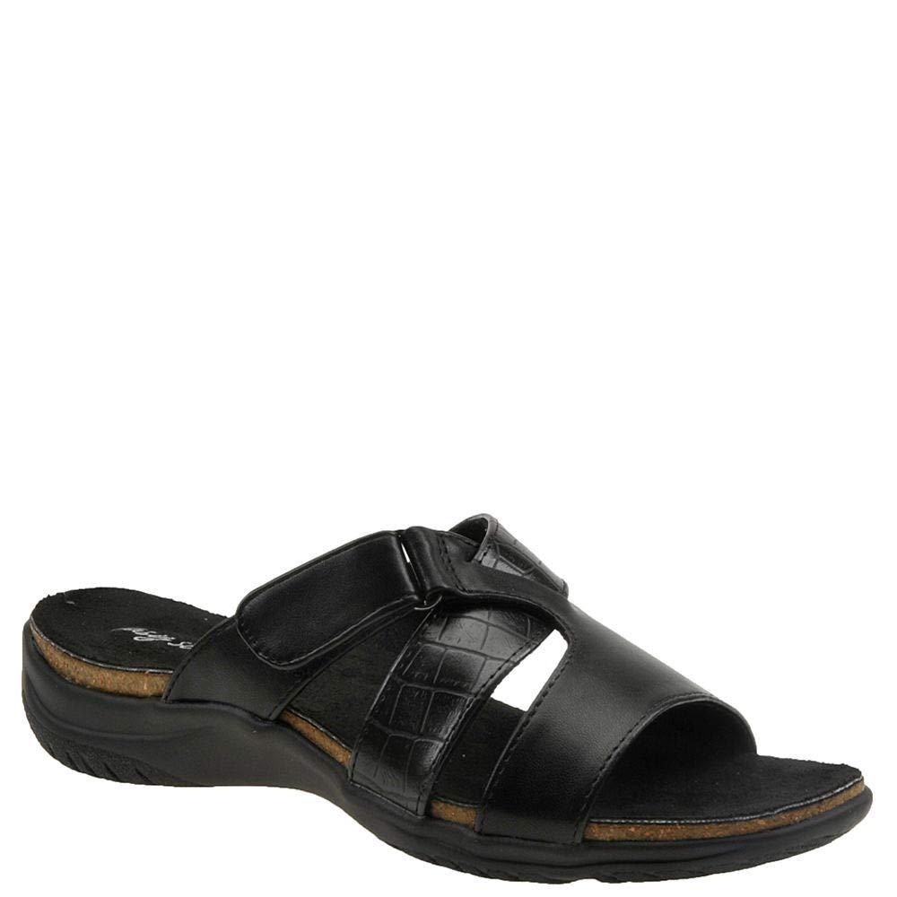 Easy Street Women's Frenzy Casual Sandal with Hook and Loop Closure, Black Crocodile, 8.5 N US by Easy Street