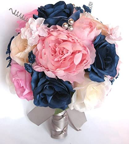 Amazon Com Wedding Bouquets Bridal Silk Flowers Light Pink Navy