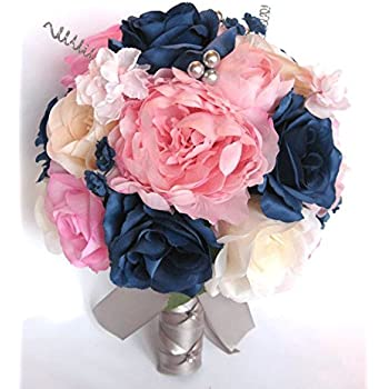 Amazoncom Wedding Bouquets Bridal Silk Flowers Light Pink Navy