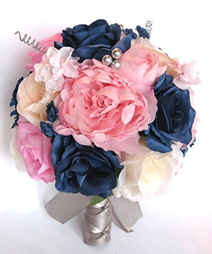 Amazon wedding bouquets bridal silk flowers light pink navy wedding bouquets bridal silk flowers light pink navy blue silver 17 piece package wedding bouquet centerpiece mightylinksfo