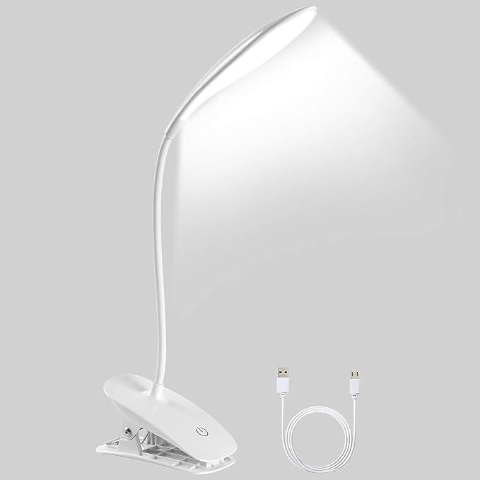 VelvxKl Lampada da Scrivania a LED Clip Luce 1W Flessibile Tubo Collo USB Alimentatore di Lettura Libro Computer Luce Proteggere gli Occhi Luce Notturna plastica Luce bianca calda. taglia unica