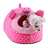 MYIDEA Warm Guinea pigs Bed,Hedgehog Winter Nest,Rat Chinchillas & Small pet Animals Bed/Cube/House, Habitat, Lightweight, Durable, Portable, Cushion Big Mat (Dog&Cat - M, Pink pig)