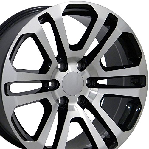 20×9 Wheel Fits GMC Chevy Trucks & SUVs – GMC Sierra Style Black Rim w/Mach'd Face