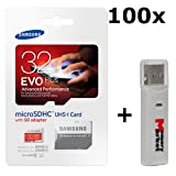 100 PACK - Samsung Evo Plus 32GB MicroSD HC Class 10 UHS-1 80mb/s Mobile Memory Card 32G MB-MC32DA with Adapter LOT OF 100 and USB 2.0 MemoryMarket dual slot MicroSD & SD Memory Card Reader