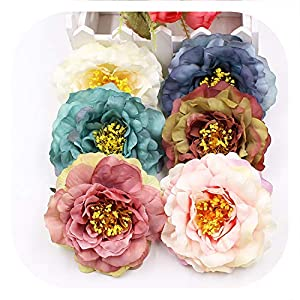 Memoirs- 5Pcs/Lot 9Cm Silk Peony Artificial Flowers Head Decoration DIY Wreath Scrapbooking for Home Wedding Party Craft Gift Fake Flower 85