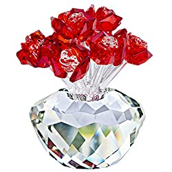 Red Crystal Rose Flowers Ornament Gift