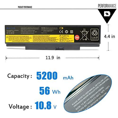 Emaks 45N15E9 Battery 45N1758 45N1759 for Lenovo ThinkPad (Edge) E550 E550C E555 E560 E565 Series 45N1760 45N1761 45N1762 45N1763 45N8961 45NE560 45NYU63 45R6758-10.8V 5200mAh 6Cell