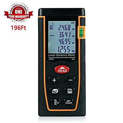 ZANTEC Laser Distance Meter Range Finder Build Measure Device Test Tool 196 Feet(60M),Accuracy ±2mm 0.079inch,2×AAA Battery
