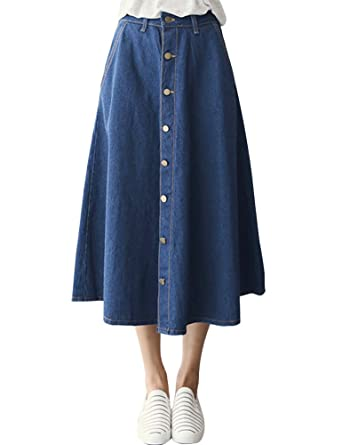 29f42f4053 IDEALSANXUN Women's Mid Length Flared Maxi Denim Skirt Button Down Jeans  Skirts (#2 Blue Elastic Waist, Small) at Amazon Women's Clothing store: