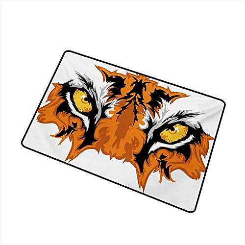 (Bedroom Doormat Eye Tiger Eyes Graphic Mascot Animal Face Bengal Cat African Safari Predator Theme W30 xL39 Machine wash/Non-Slip)