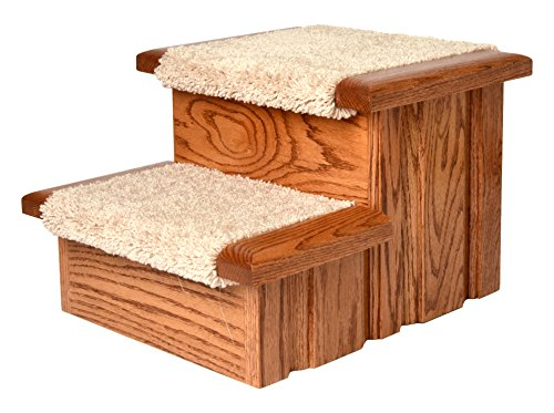 Premier Pet Steps Tall Raised Panel Dog Steps, Carpeted Tread with Stained Early American, 12-Inch by Premier Pet Steps