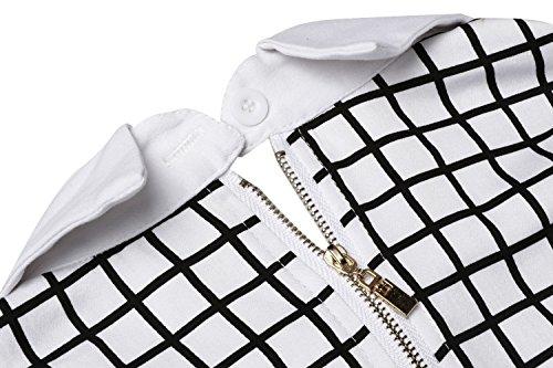 Blanc Trapze HOTOUCH Carreaux Col Femme Courte Patineuse Robe Manche Noir Claudine Wnq7z6q