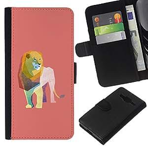 Stuss Case / Funda Carcasa PU de Cuero - Le¨®n Acuarela Pol¨ªgono Arte Peach Pink - Samsung Galaxy Core Prime